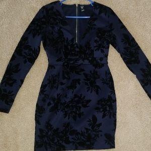 Windsor navy blue, velvet dress.